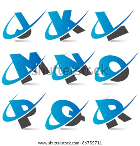 Swoosh Alphabet Logo Set 2 - stock vector