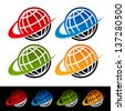 Swoosh Earth Logo Icons - stock vector