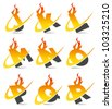 Swoosh flame logo alphabet set 2 - stock photo