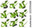 Swoosh green alphabet with leaf logo icon Set 3 - stock photo