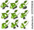 Swoosh green alphabet with leaf logo icon Set 1 - stock vector