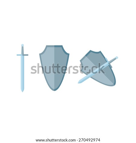 Sword and shield in flat, vector, eps - stock vector