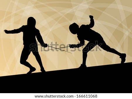 Sword fighters active young men fencing sport silhouettes vector abstract background illustration - stock vector