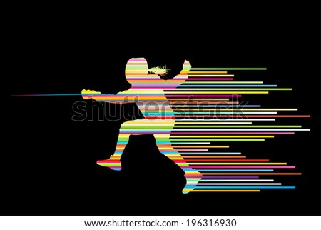 Sword fighters active young woman fencing sport silhouettes vector abstract background illustration made of stripes