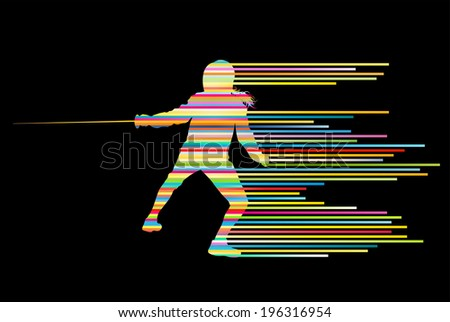 Sword fighters active young woman fencing sport silhouettes vector abstract background illustration made of stripes - stock vector