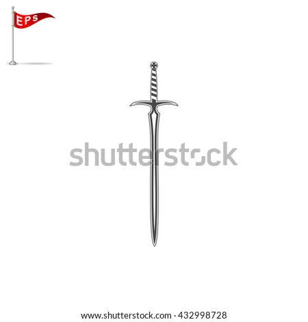 sword icon, vector medieval sword, isolated sword sign - stock vector