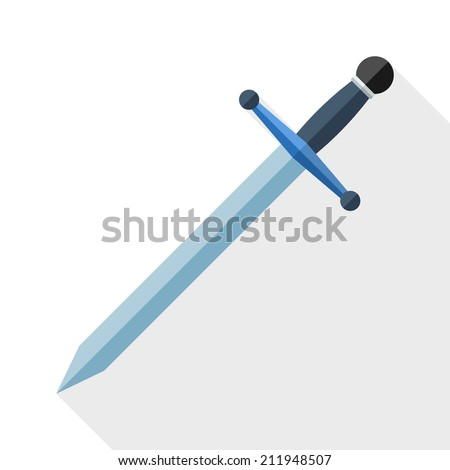 Sword icon with long shadow on white background