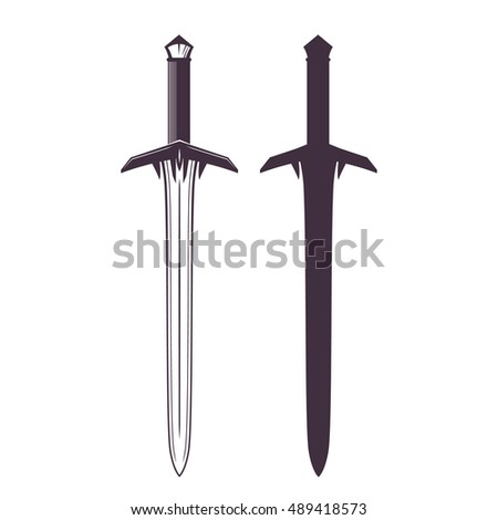 sword isolated on white, medieval weapon, vector illustration