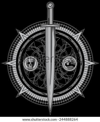 Sword of Dark Alchemy - stock vector