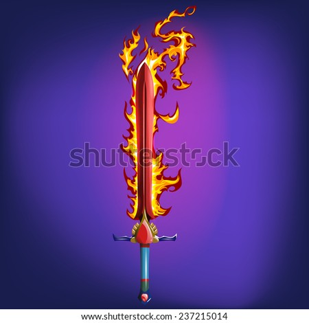Sword with fire flames. Vector illustration. - stock vector