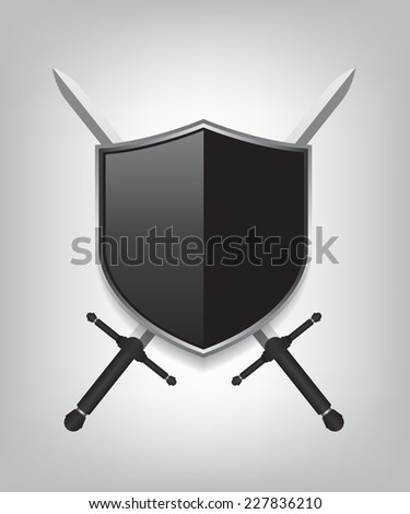 Swords and black shield - stock vector