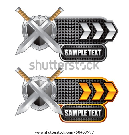 swords and shield white and gold arrow nameplates - stock vector