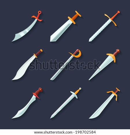 Swords knives daggers sharp blades flat icon set isolated vector illustration - stock vector