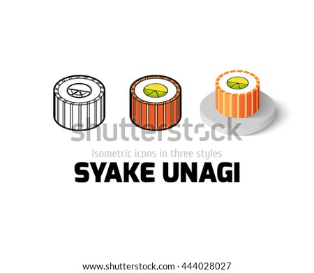 Syake unagi icon, vector symbol in flat, outline and isometric style