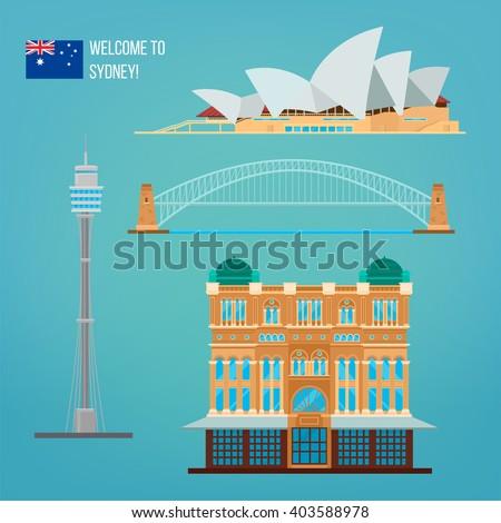 Sydney Architecture. Tourism Australia. Opera House. Sydney Buildings. Welcome to Sydney. Vector illustration - stock vector