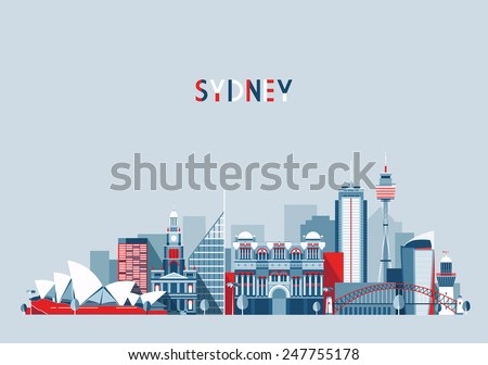 Sydney (Australia) city skyline vector background. Flat trendy illustration. - stock vector