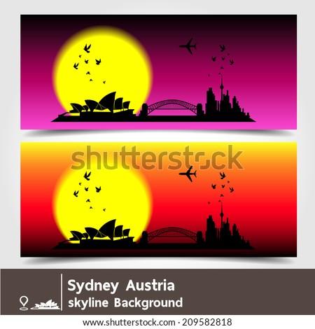 Sydney, Austria,skyline background,vector Illustration - stock vector