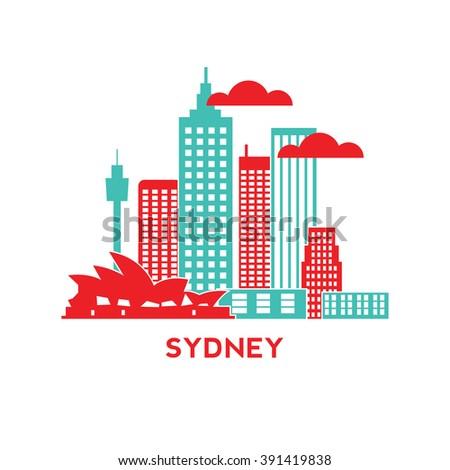 Sydney city architecture retro vector illustration, skyline city silhouette, skyscraper, flat design - stock vector