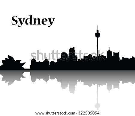 Sydney city skyline  vector flat design monochrome illustration, black silhouette - stock vector
