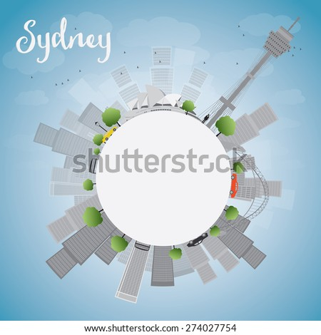 Sydney City skyline with blue sky, skyscrapers and copy space. Vector illustration. Business travel and tourism concept with place for text. Image for presentation, banner, placard and web site. - stock vector