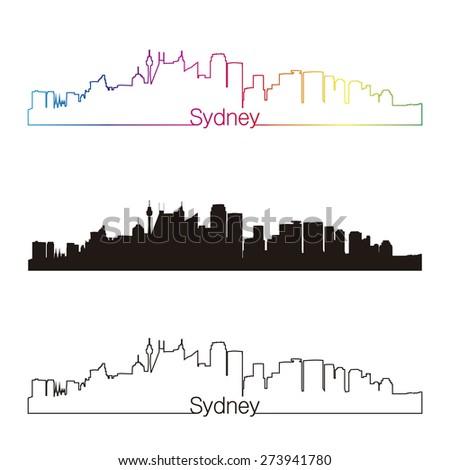 Sydney V2 skyline linear style with rainbow in editable vector file - stock vector