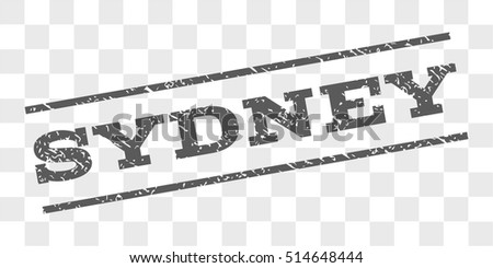 Sydney watermark stamp. Text tag between parallel lines with grunge design style. Rubber seal stamp with scratched texture. Vector grey color ink imprint on a chess transparent background.