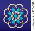 symbol - a flower on a dark blue background - stock vector