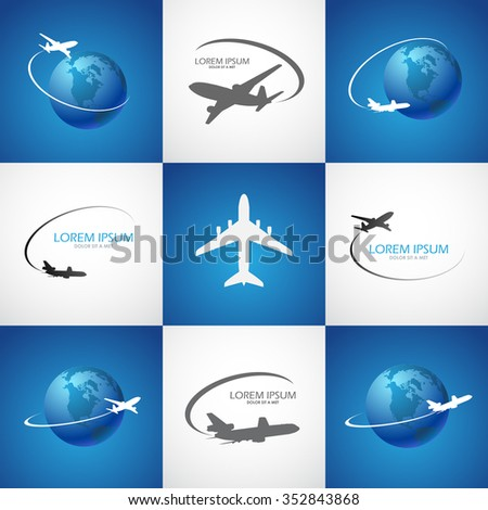 symbol airplane logo travel tourism design vector - stock vector