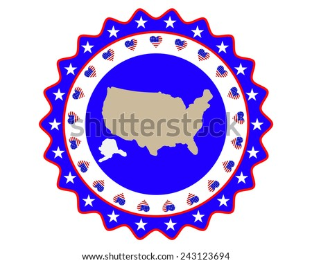 symbol and a map of America on a white background - stock vector