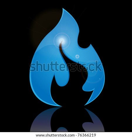 Symbol - Blue Flame. Vector.