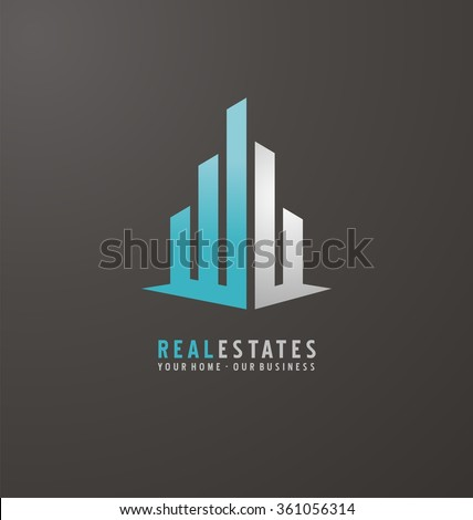 Symbol concept for accounting or real estate company. Vector design with commercial building and chart bars. Business logo concept.  - stock vector