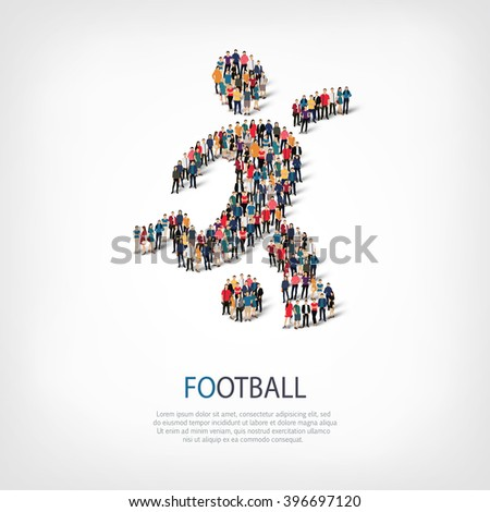 symbol football people crowd - stock vector