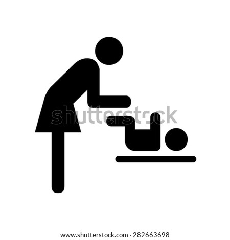 Symbol for women and baby , toilet . - stock vector