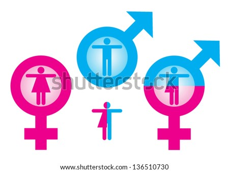 Symbol indicate female and male - stock vector