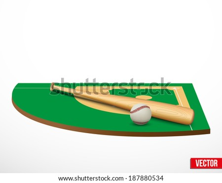 Symbol of a baseball game and field in three-dimensional space. Vector illustration. - stock vector