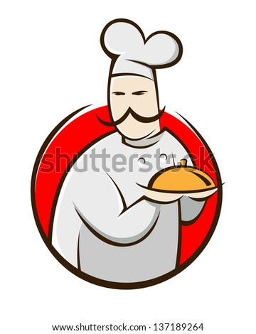 Symbol of a chef holding food tray, vector illustration