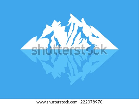 Symbol of a mountain with reflection - stock vector
