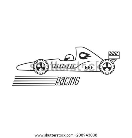 Symbol of a racing car. Vector - stock vector