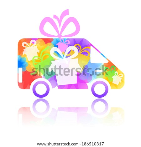 symbol of a truck with a gift box and flowers