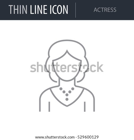 Symbol Actress Thin Line Icon Different Stock Vector 529600129