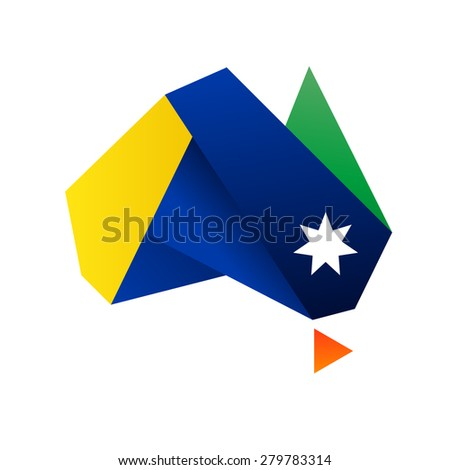 Symbol of Australia - Commonwealth Star and colored stripes - stock vector
