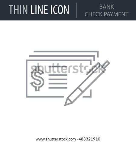 Symbol Bank Check Payment Thin Line Stock Vector 483321910