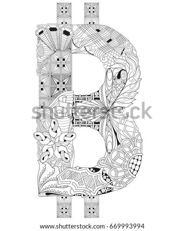 Symbol of bitcoin zentangle. Vector decorative number