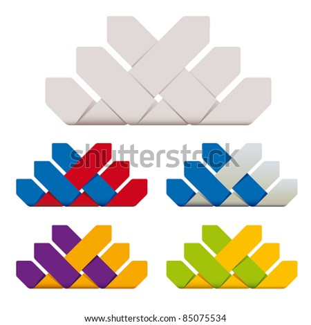 Symbol of business relationship with additional color versions set, vector icons. - stock vector