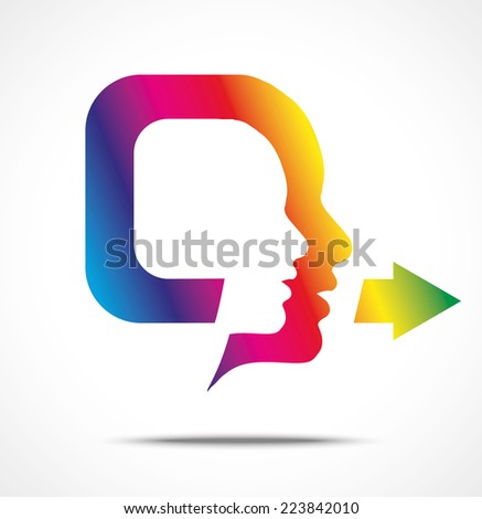 Symbol of colorful speaking head illustration, isolated on white - stock vector