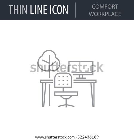 Symbol Comfort Workplace Thin Line Icon Stock Vector 522436189