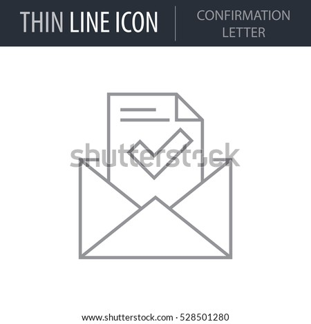 Symbol Confirmation Letter Thin Line Icon Stock Vector 528501280