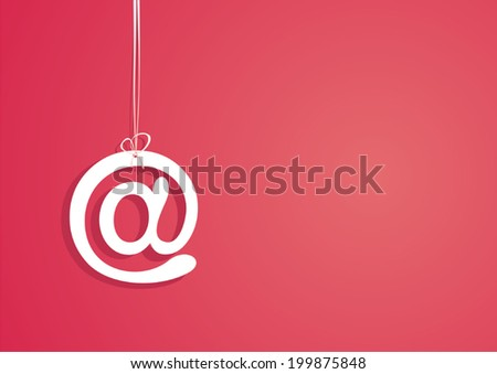 Symbol of email. Red background. Vector illustration.  - stock vector