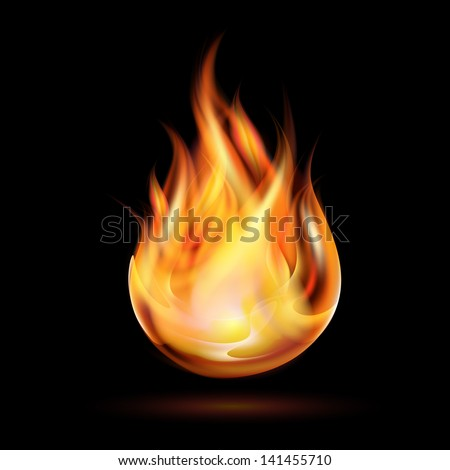 Symbol of fire on dark background. Vector illustration - stock vector