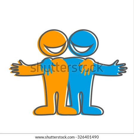 Symbol of friendship. Icon Happy friends. Vector sign.